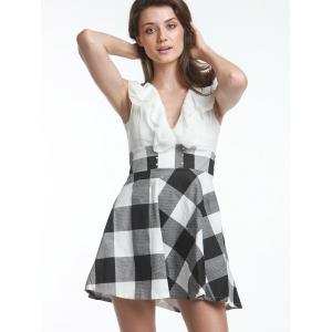 Sweet V-Neck Checked Lace-Up Selvedge Design Women's Dress - WHITE ONE SIZE