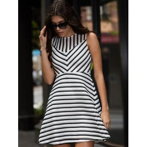 Stripe Mesh A Line Sleeveless Dress - WHITE M