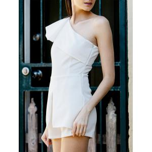 Fashionable One Shoulder White Flounce Sleeveless Romper For Women