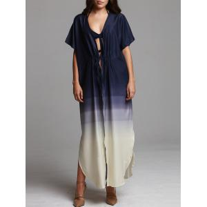Ombre Print Maxi Beach Coverup Dress - Purplish Blue - L