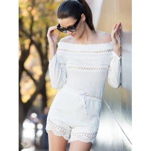 Off-Shoulder Drawstring Romper - White - S