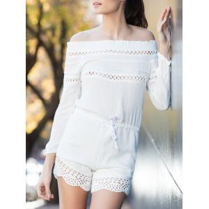 Alluring Off-The-Shoulder Long Sleeve Drawstring Women's White Romper - White - S