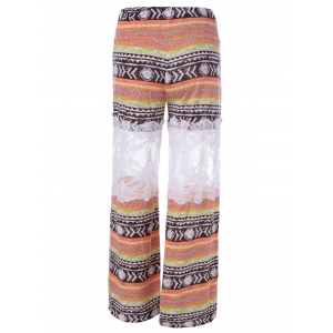 Fashionable Printed Lace Stitching Palazzo Pants - COLORMIX L