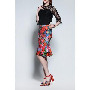 Lace Blouse and Fishtail Skirt Twinset -