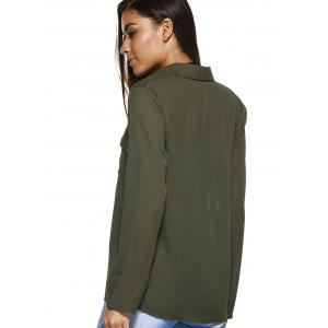Front Pocket Lace-Up Front Shirt - ARMY GREEN 2XL