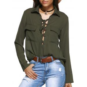 Front Pocket Lace-Up Long Sleeve Shirt - Army Green - 2xl