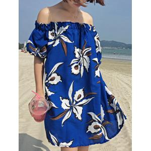 Sweet Women's Off-The-Shoulder Floral Print Puff Sleeves Summer Dress -