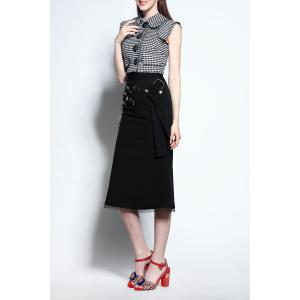 Houndstooth Blouse and High Waisted Skirt Twinset -