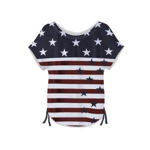 Short Sleeve Round Neck Flag Pattern Women's T-Shirt