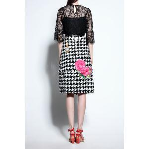 Lace Blouse and Houndstooth Skirt Twinset -