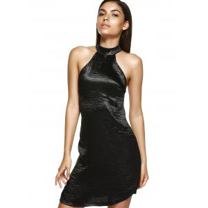 Faux Slik Halter Open Back Bandage Mini Dress -