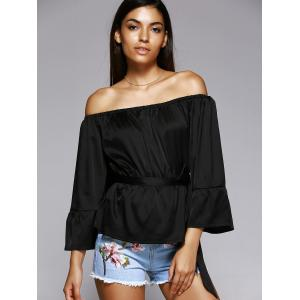 Off The Shoulder Belted Bell Sleeve Pleated Blouse -