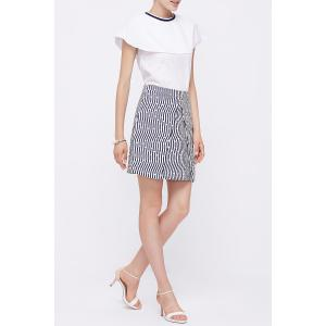 Polka Dot Print Striped Skirt -