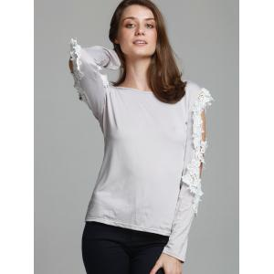Stylish Three Quarter Sleeve Scoop Neck Spliced Hollow Out Women's T-Shirt - GRAY XL