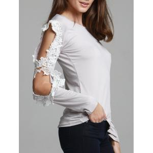 Stylish Three Quarter Sleeve Scoop Neck Spliced Hollow Out Women's T-Shirt - Gray - S