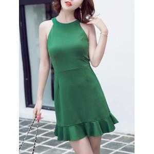 Refreshing Women's Round Neck Pure Color Sleeveless Fishtail Dress -
