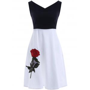 V Neck Sleeve Skater Dress - White And Black - L
