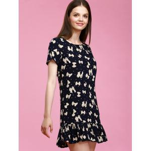 Short Sleeve Bowknot Print Polka Dot Shift Dress -