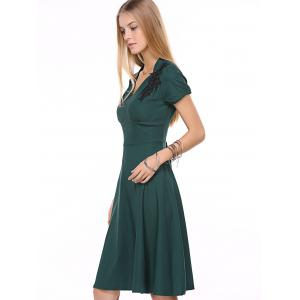 Vintage Swing High-Waist Embroidery Zippered Dress - BLACKISH GREEN 2XL
