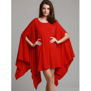 Fashionable Solid Color 1/2 Batwing Sleeve Asymmetric Loose Top For Women - RED XL