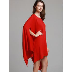 Fashionable Solid Color 1/2 Batwing Sleeve Asymmetric Loose Top For Women -