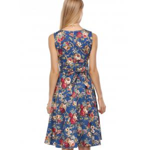 Retro Style Floral Print Back Lace-Up Dress - DEEP BLUE 2XL