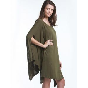 Stylish Solid Color Half Batwing Sleeve Asymmetric Loose Top For Women -