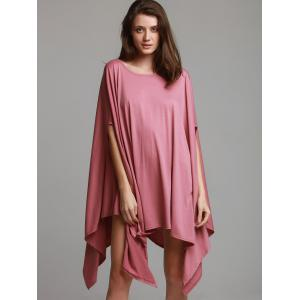 Stylish Solid Color 1/2 Batwing Sleeves Asymmetric Loose Top For Women -