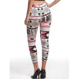 Chic Women's High Waist Geometrical Print Hit Color Capri Leggings - COLORMIX ONE SIZE(FIT SIZE XS TO M)