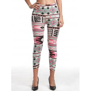 Chic Women's High Waist Geometrical Print Hit Color Capri Leggings