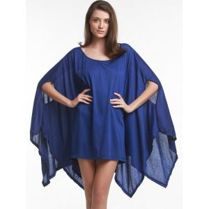 Trendy Solid Color 1/2 Batwing Sleeve Asymmetric Loose Top For Women -