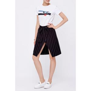 Striped Tie Front Slit Skirt -