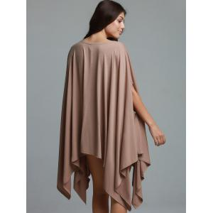 Stylish Solid Color 1/2 Batwing Sleeve Loose Asymmetric Top For Women -