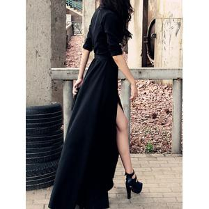 Stylish Women's Black Shirt Collar High Split Buttoned Maxi Dress -