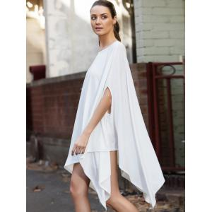 Brief Solid Color 1/2 Batwing Sleeve Asymmetric Loose Top For Women -