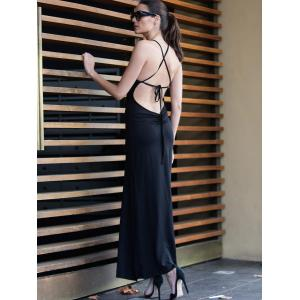 Black Spaghetti Strap Backless Split Maxi Dress - BLACK S