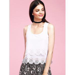 Trendy U-Neck Hollow Out Scalloped Backless Women's Tank Top -
