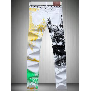 White Color Printed Straight Leg Jeans For Men -
