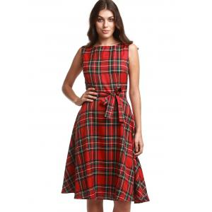 Retro Jewel Neck Sleeveless Plaid Belted A-Line Dress For Women -