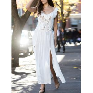 V-Neck Sleeveless Lace Furcal Long Cover-Up Dress - White - One Size(fit Size Xs To M)
