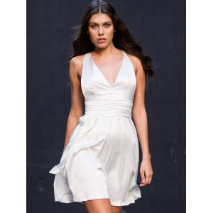 White Sleeveless Deep V Neck Flare Dress - WHITE L
