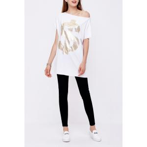 One-Shoulder Loose Letter Print T-Shirt -