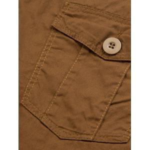 Summer Straight Leg Multi-Pocket Solid Color Fitted Zipper Fly Cargo Shorts For Men -