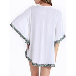 Stylish Batwing Sleeve Tassel Floral Embroidered Tunic Dress - WHITE 2XL