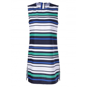 Fashionable Fitted Round Neck Stripe Print Dress For Women - White + Blue + Green - S