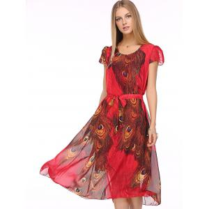 Bohemian Peacock Tail Print Women's Midi Dress -