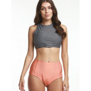 Striped Crop Top and High Waisted Briefs Tankini Bathing Suit -