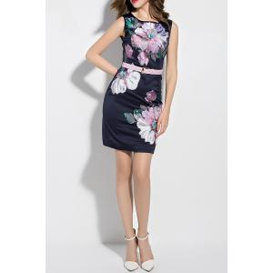 Flower Embroidered Mini Belted Dress -