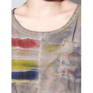 Fashionable Short Sleeve Tie-Dye Pocket Design Furcal Women's T-Shirt -