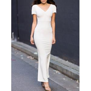 Off-The-Shoulder Short Sleeve Jersey Maxi Dress